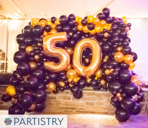 50th Birthday Organic Balloon Wall