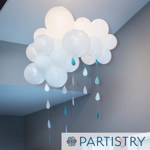 balloon decoration rain with clouds