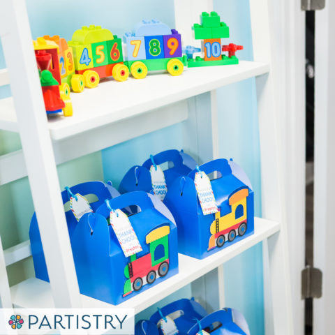 Train Themed Birthday - Party Favor Boxes on Shelf